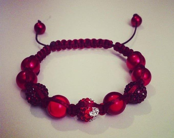 Shamballa bracelet adjustable red and white #174