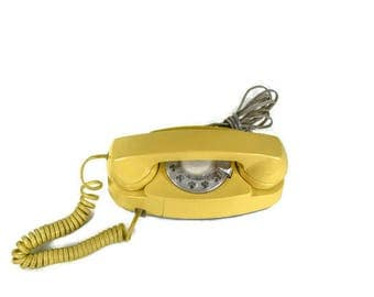 Vintage Princess Phone - Mid Century Princess Dial Phone, Retro Yellow Dial Phone, Yellow Princess Dial Phone, Has Not Been Tested