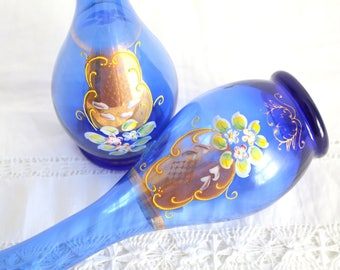 VASES, Vintage Orignal, Handpainted Glass Vase by Dee-Bee Co., Imports, Japan, Set of 2, Victorian Style Decor
