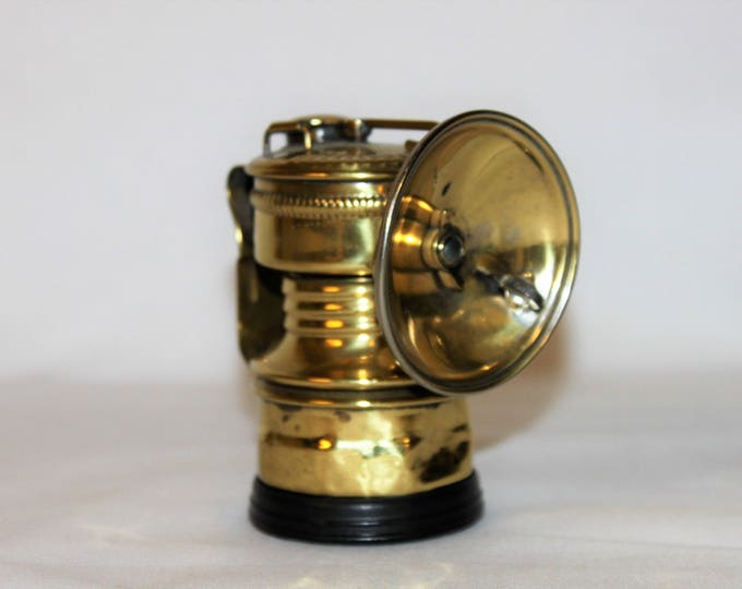 Antique 1920s Guys Dropper Carbide Miner's Brass Mining Artifact – Guys Dropper Carbide Miner's Headlamp Torch with Brass Reflector