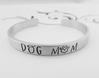 DOG MOM - Hand Stamped Bracelet - Pet Lover - Dog Owner Jewelry - Fur Mom - Gift for Dog Lover