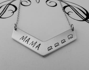 Mom of 3 - MAMA Bear Hand Stamped Necklace - Mom Jewelry - Mother's Day Gift - Gift for Mom - Mama Bear Jewelry - Mother of Three Children