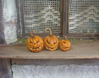 hollow carved halloween pumpkin set of 3 -  12/24 th scale