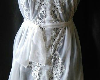 Vintage white long sheer nightie sz med