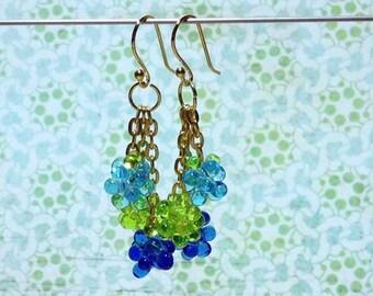Blue Green Dangles Bead Dangle Earrings Green Blue Earrings Beaded Dangles Drop Dangle Earrings Spring Earrings Bead Woven Earrings