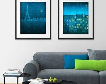 30% OFF SALE: Any TWO Prints - Save 20 Percent,Set of two Illustrations,Fine art illustration Giclee Art print Poster Paris Home decor Large