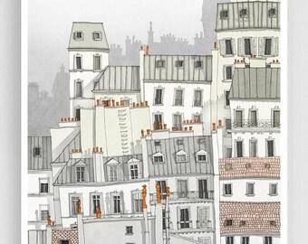 30% OFF SALE: Paris, Montmartre - Paris illustration Paris Art Prints Posters Home decor Wall decor Gift ideas for her Modern Architectural
