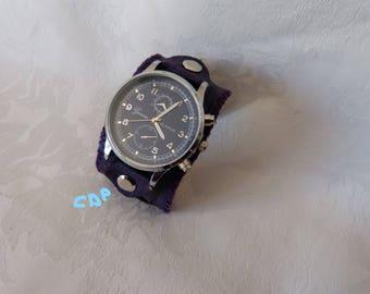 loop closure wristwatch Purple Leather cuff watch