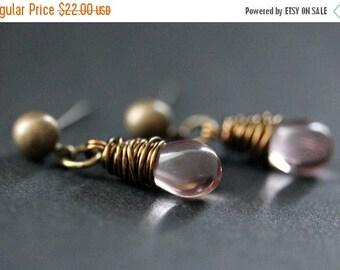 SUMMER SALE BRONZE Earrings - Light Pink Teardrop Earrings. Dangle Earrings. Post Earrings. Handmade Jewelry.