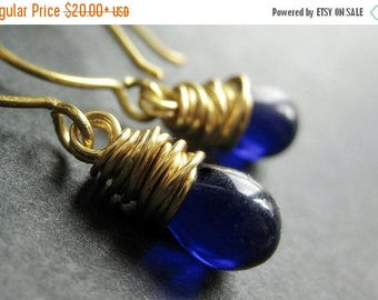 SUMMER SALE Teardrop Earrings - Cobalt Blue and Gold Wire Wrapped Earrings. Handmade Jewelry.