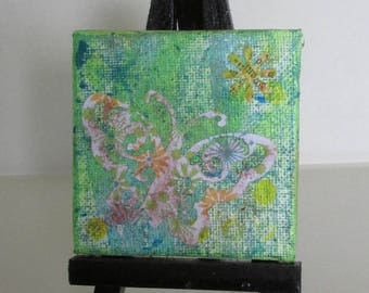 miniature mini canvas panel mixed media gelli print display upcycled art butterfly