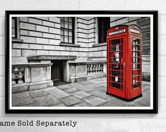 Red Phone Booth - London Pop Art Print and Poster England Monument UK Landmark Travel Home Decor Canvas