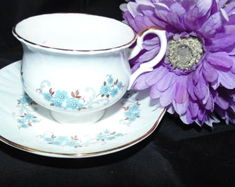 Vintage Staffordshire Fine Bone China Tea Cup and Saucer Blue England Flowers Floral Gold Gilt