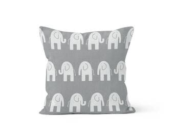 Grey Elephants Pillow Cover - Ele Storm Grey  - 18 x 18, 20 x 20 and More Sizes - Zipper Closure - sc1820