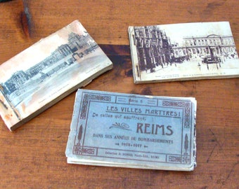 SALE Lot of 3 Booklets Antique French Postcards, Including 1 w/ Bombed Cities of Franch after WWI