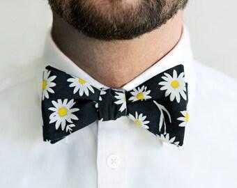 Self-Tie Black Daisy Floral Tie, Untied Freestyle Bowties Bow Ties Necktie Men Tuxedo Wedding Formal