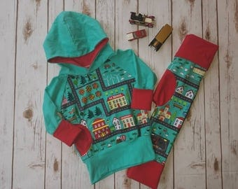 Grow With Me, Hoodie, Toddler Hoodie, Kids Grow With Me, Grow With Me Top, Outdoors, Road, Farm, School, Red, Mint,