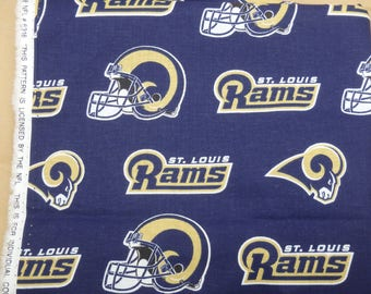 """Clearance - NFL Fabric, Rams Football, Rams Blue, Cotton Broadcloth Fabric, NFL Fabric, 2 Yards (38"""" Wide)"""