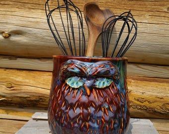 Owl Utensil Holder, Pottery Utensil Holder, Ceramic Owl, Ceramic Owl Utensil Holder, Red and Green Owl, Kitchen Utensil Holder, Spoon Holder