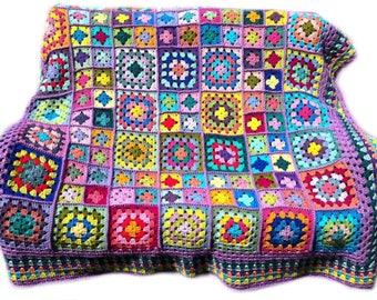 Crochet afghan handmade crochet blanket kaleidoscope crochet granny square afghan, lavender border 58 inches, READY TO SHIP
