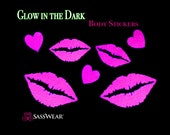 Lip Kisses Pink Glow in the Dark Body Stickers - Glow Party - Lips Nipple Sticker - Sexy Costume - Neon Kisses