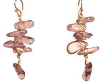 Amethyst Branch Drop Gemstone Earrings Guenevere 107