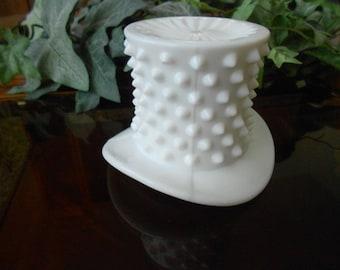 Vintage white milk glass hobnail top hat vase by Fenton