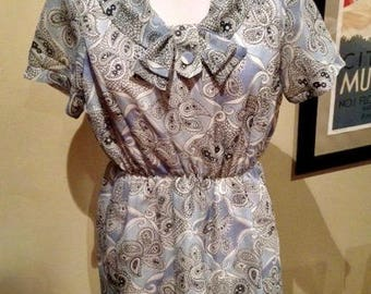 Vintage 1960s Sky Blue Paisley Mini Dress - M