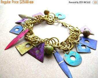 Sale Vintage Bohemian Bracelet - 80s Bracelet - Boho Bracelet - Geometric Charm Bracelet - Colorful Patina Charm Bracelet