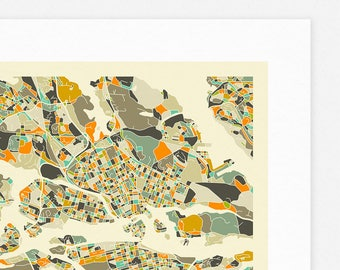 STOCKHOLM MAP (Giclée Fine Art Print/Photographic Print/Poster Print) by Jazzberry Blue (ivory version)