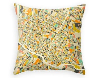 AUSTIN MAP, Throw pillow for your home decor (ivory version)