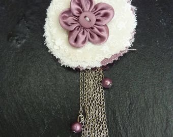 Brooch textile and beads in purple tones