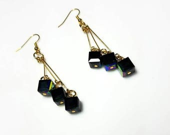 extra long black cube gold earrings hypoallergenic nickel free earrings modern everyday statement jewelry beaded dangle drop earrings