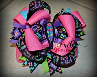 ON SALE / Wild & Free Themed Boutique Style Bow / Wild One / Feather Bow / Hairbow / Hair Bow / Bows / Arrow Bow / Aztec Bow / Pink Bow
