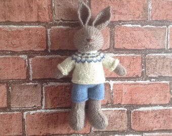 Knitted toy handmade softie soft toy baby gift  kids toy rabbit bunny toy hand knitted toy present for kids stuffed toy stuffed animal gift