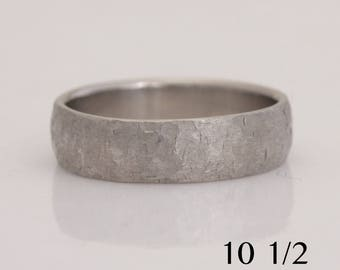 Men's rustic texture palladium wedding band, size 10 1/2 and custom sizes, Pd 950, #784.