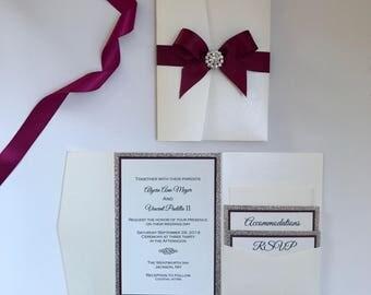 Formal Wedding Invitation - cream pocket folder wedding invitation set - gold glitter invitation - modern wedding invitations