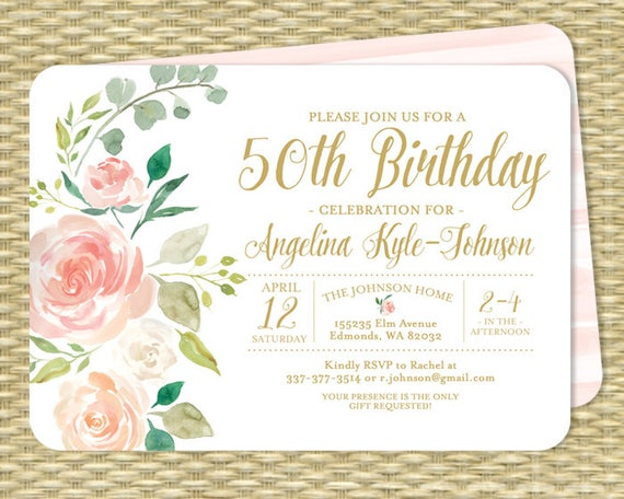 50th Birthday Invitation Floral Birthday Invitation Adult Milestone
