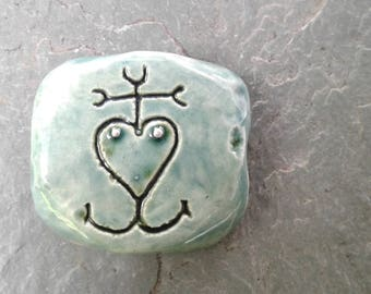 Camargue Cross Ceramic Pendant Teal Clay Focal Bead French Symbol Coat of Arms Jewelry Making Supplies Sacred Symbols