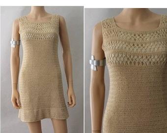 1960 Crochet dress natural extra small A line sleeveless crochet dress XS