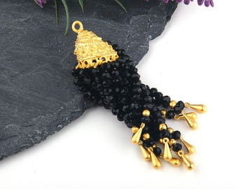 Black, Crystal Beaded Tassel, Tassel Pendant, 1 piece // TAS-129