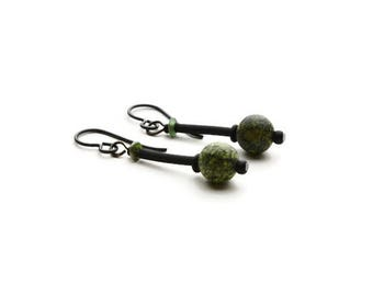 Green Russian Jade Stone Bead Earrings, Russian Jade Stone Bead Earrings, Russian Jade Stone Earrings, Black Niobium Ear Wire Earrings