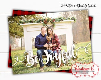 Be Joyful Christmas Card | Picture Christmas Card | Double Sided Christmas Card | 2 Picture | Buffalo Plaid | Printable Christmas Card