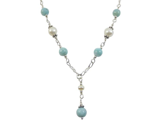 Larimar & White Fresh Water Pearls Bead Y Necklace on Sterling Silver or 14k Gold Fill