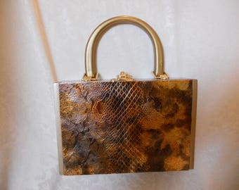 Cigarbox Purse, Embossed Snakeskin Leather, Tina Marie Purse Purse, Vintage