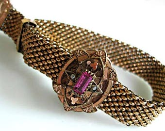 Victorian Mesh Slide Bracelet, Seed Pearls, Rose-Goldfilled Ornate Medallion Front, Pink Stone, Adjustable Band Slide Keeper, Patent 1882