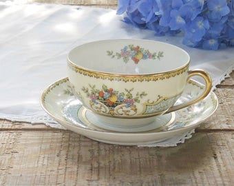 Antique Noritake Chine Blue Footed Tea Cup and Saucer Set Ca. 1931