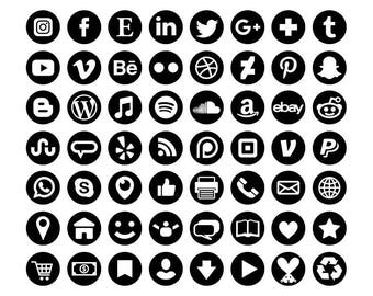 Black Social Media Icons Set | Transparent Round Circle Avatar Flat Color Buttons Blog Website | Digital Icons | Personal or Commercial Use