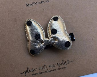 Minnie Mouse Clip gold bow