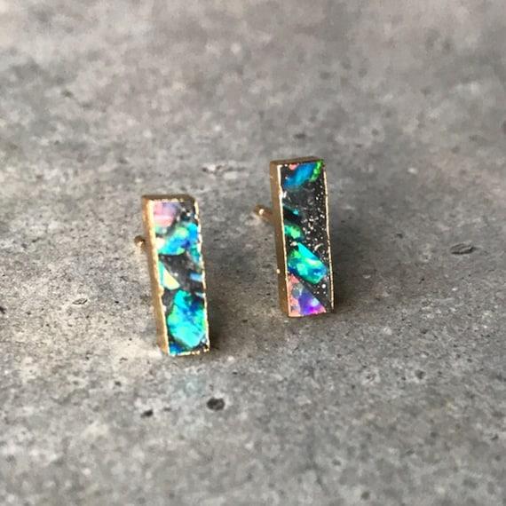 Opal Studs Earrings, Black opal earrings, Opal jewelry, October birthstone, Libra birthstone jewelry, boho jewelry, bar earrings